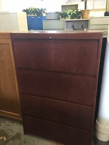 4dr 36 w Lateral Size File Cabinet By Haworth Office Furn In Cherry Wood P u