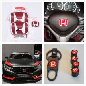 Racing Set Red H Emblem 3pcs Front Rear For 2016 18 Honda Civic Coupe Ex Lx Si