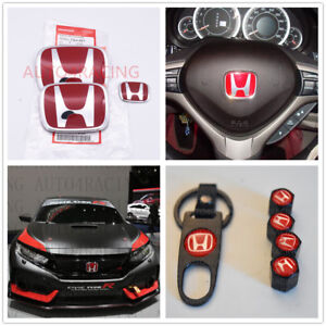 Racing Set Red H Emblem 3pcs Front Rear For 2016 18 Honda Civic Hatchback