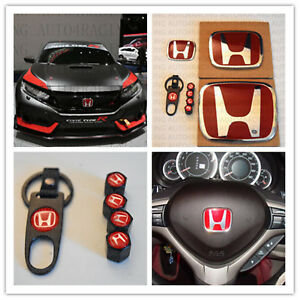 Racing Set Red H Emblem Front Rear Steering Wheel Fit 2006 11 Honda Civic Coupe