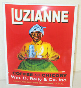 Vintage Style Luzianne Coffee Chicory New Orleans Porcelain Signs Country Store