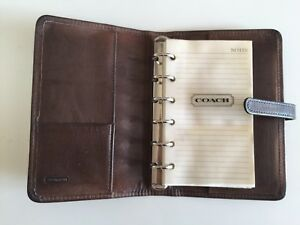 Vintage Coach Brown Leather 6 Ring Binder Organizer Day Planner From 1990s
