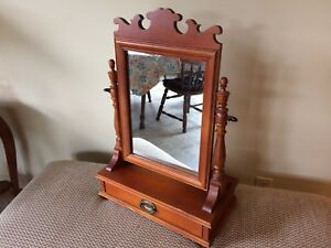 Vintage Rock Maple Standing Vanity Shaving Mirror W Drawer Vermont Pick Up Nwct
