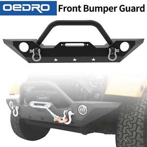 Oedro Front Bumper Combo Fit For 07 18 Jeep Wrangler Jk With 2x Led Lights