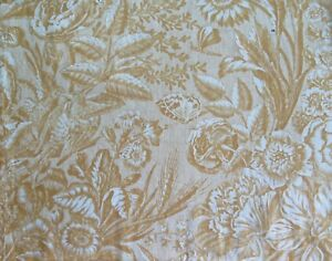 Antique French Steel Engraved Cotton Toile Fabric C1820 Birds Florals 43 Lx15 W
