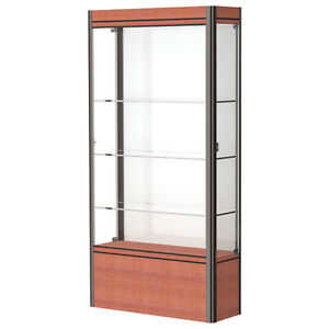 Lighted Floor Display Case 36x72x14 White Cherry