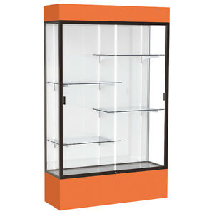 Lighted Floor Display Case 48x80x16 White Waddell Display 3174wb bz or