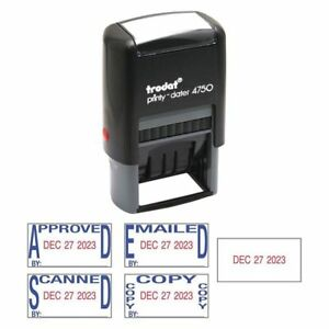 Self inking Date Stamp blue red Trodat E4756