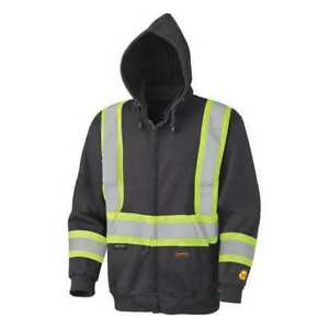 Safety Hoodie Hi vis Black Cotton 2xl