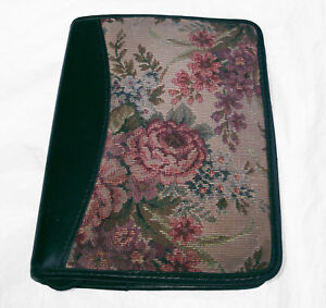 Franklin Quest Tapestry With Aniline Leather Compact Usa Vintage Planner Binder
