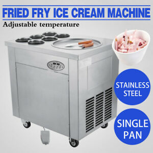 740w Set Temperature Fried Ice Cream Maker 1 Pot 6 Bucket Roll Ice Cream Machine