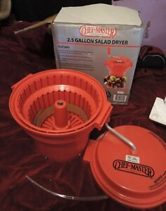 Chef Master 2 5 Gallon Commercial Salad Spinner Dryer With Brake