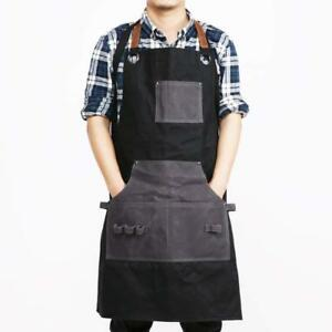 Mens Waxed Canvas Wood Work Shop Apron Heavy Duty Leather Working Aprons