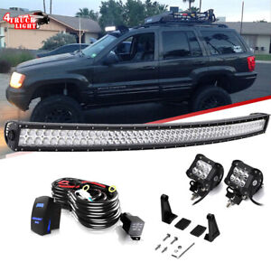 Us 288w 50 Curved Led Light Bar 4 18w Pods Cube 1993 98 Jeep Grand Cherokee Zj