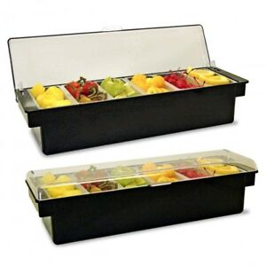 Chilled Condiment Caddy Server Dispenser Container Garnish Tray Ice Cool Holder