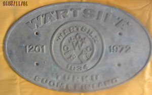 Vintage Ship Builders Plaques Plates Wartsila No 1201 1972 Best For Collector