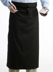 Chefs Waiter Waitress Reataurant Polycotton Waist Apron Long Black Server 1 Or 5