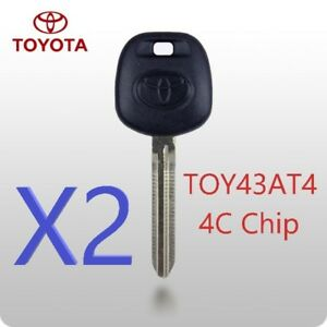 X2 Toyota Toy43 Toy43at4 Transponder Chip Key 4c Top Quality Usa Seller