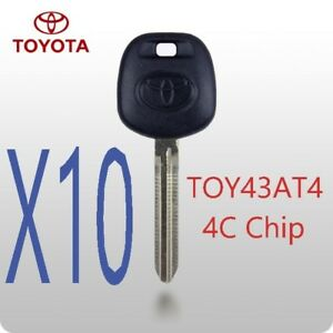 X10 Toyota Toy43 Toy43at4 Transponder Chip Key 4c Top Quality Usa Seller