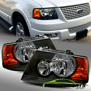 For 2003 2004 2005 2006 Ford Expedition Factory Style Black Headlights Lamps Set