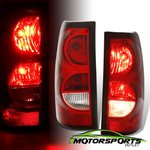 Fit 2003 2006 Chevy Silverado Pickup Red Clear Replacement Tail Lights Pair