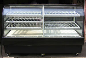 Dual Zone Curved Glass Bakery Refrigerated Display Merchandiser Case Lighted