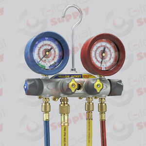 Yellow Jacket 46013 Brute Ii Manifold 60 Hoses W Ball Valve R22 404a 410a
