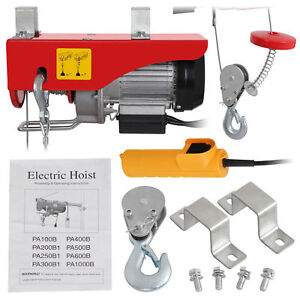 440 Lbs Mini Electric Wire Hoist Remote Control Garage Auto Shop Overhead Lift