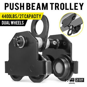 2 Ton Push Beam Track Roller Trolley Dual Wheels I beam Track Washers Included