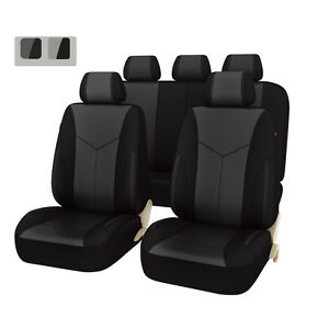 New Car Pass Breathable Pu Leather Universal Fit Car Seat Covers Black Color