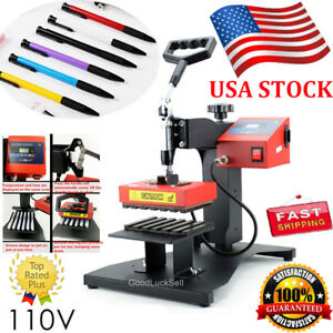 6pcs Digital Pen Heat Press Machine Fr Ball point Transfer Printing Presser 110v