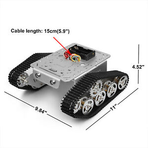 Smart Car Platform Tracked Robot Metal Tank Chassis W Dual Dc Motor For Arduino