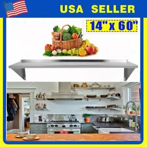 14 X 60 Commercial Heavy Duty Stainless Steel Wall Mount Shelf Nsf Shelving Dr