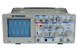 B k Precision 2120c 30 Mhz Dual Trace Analog Oscilloscope With Probes