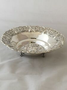 925 Sterling Silver Candy Dish Bowl With Floral Design On 3 Feet