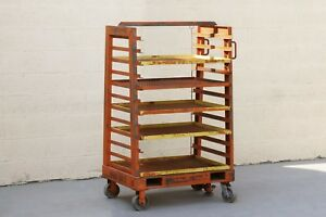 1940s Vintage Industrial Rack Cart With Expanded Metal Shelves