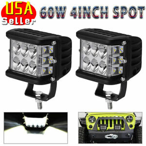 2pcs 4 inch 120w Led Light Bar Spot Flood Pods Lights Off road Tractor 4wd 12v