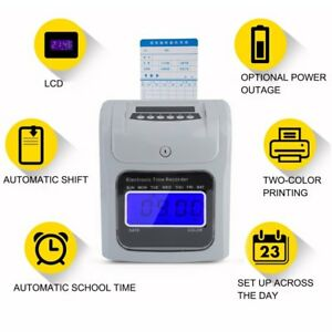 Employee Attendance Punch Time Clock Payroll Recorder Lcd Display 100 Cards Hg