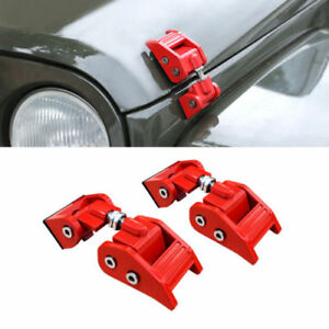 Front Hood lock Latche Hood Catch Set For 07 18 Jeep Wrangler Jk Jku Red Steel