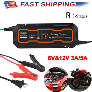 Waterproof 6v 12v 3a 5a Smart Car Battery Charger 3 Stage Maintainer Desulfator