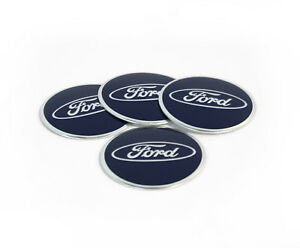 4x56mm Ford Wheel Center Caps Emblem Blue Badge Decals Stickers 30