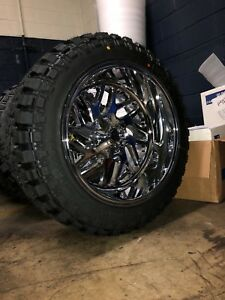 22x12 Fuel D609 Triton Chrome Wheels 35 Mt Tire Package 8x180 New Gmc Chevy