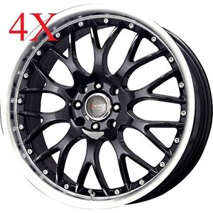 Drag Wheels Dr 19 15x7 4x100 4x114 Black Rims For 240sx Miata Civic Eg Ek Fit Xb
