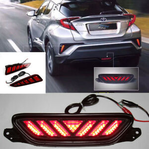 Red Led Brake Light Tail Rear Bumper Fog Stop Warn Lamp For Toyota Chr 2017 2018