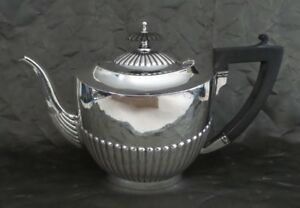 Beautiful Art Deco British Sterling Silver Ebony Handle Teapot Poston Co