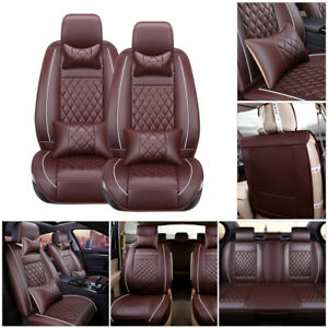 Us Car Pu Leather Seat Cover M Size 5 seats Suv Cushion Front rear W pillows Set