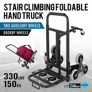 330lbs 6 Wheels Stair Climbing Cart W 2 Backup Wheels Portable Collapsible