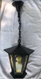 Vintage Cast Iron Porch Light Gothic Tudor Restored Herwig Hanging Fixture