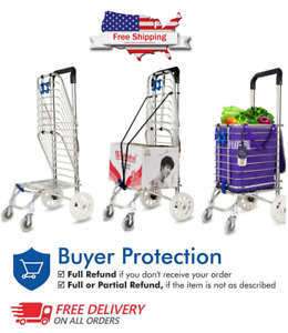 New Heavy Duty Folding Shopping Push Cart Light Weight 4 Wheels Grocery with Bag