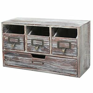 Rustic Storage Cabinets Brown Torched Wood Finish Desktop Office Organizer